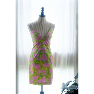 "Vintage ""Lilly Pulitzer"" Green Lion Print Dress"